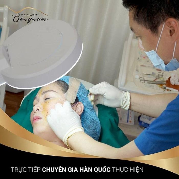 Căng da mặt bằng chỉ tại Gangnam sẽ do các chuyên gia Hàn Quốc trực tiếp thực hiện
