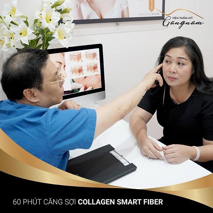 Bác sĩ sẽ tư vấn trực tiếp rồi tiến hành căng da mặt bằng chỉ collagen