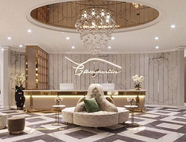 Viện thẩm mỹ Mega Gangnam với sảnh đón khách sang trọng, lịch sự