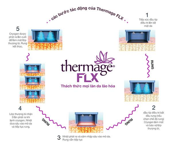 Cơ chế hoạt động của Thermage FLX lên vùng da được trị liệu. Vậy công nghệ công nghệ Thermage FLX giá bao nhiêu?