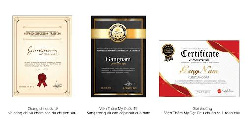 Chứng chỉ quốc tế và giải thưởng đạt được của Viện thẩm mỹ Mega Gangnam