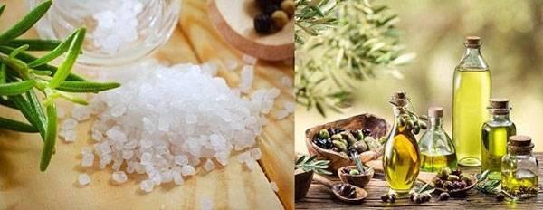 Làm sạch tế bào chết nhanh bằng muối tinh và dầu ô liu
