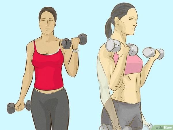 Bài tập Dumbbell Biceps Curls giảm mỡ tay với tạ