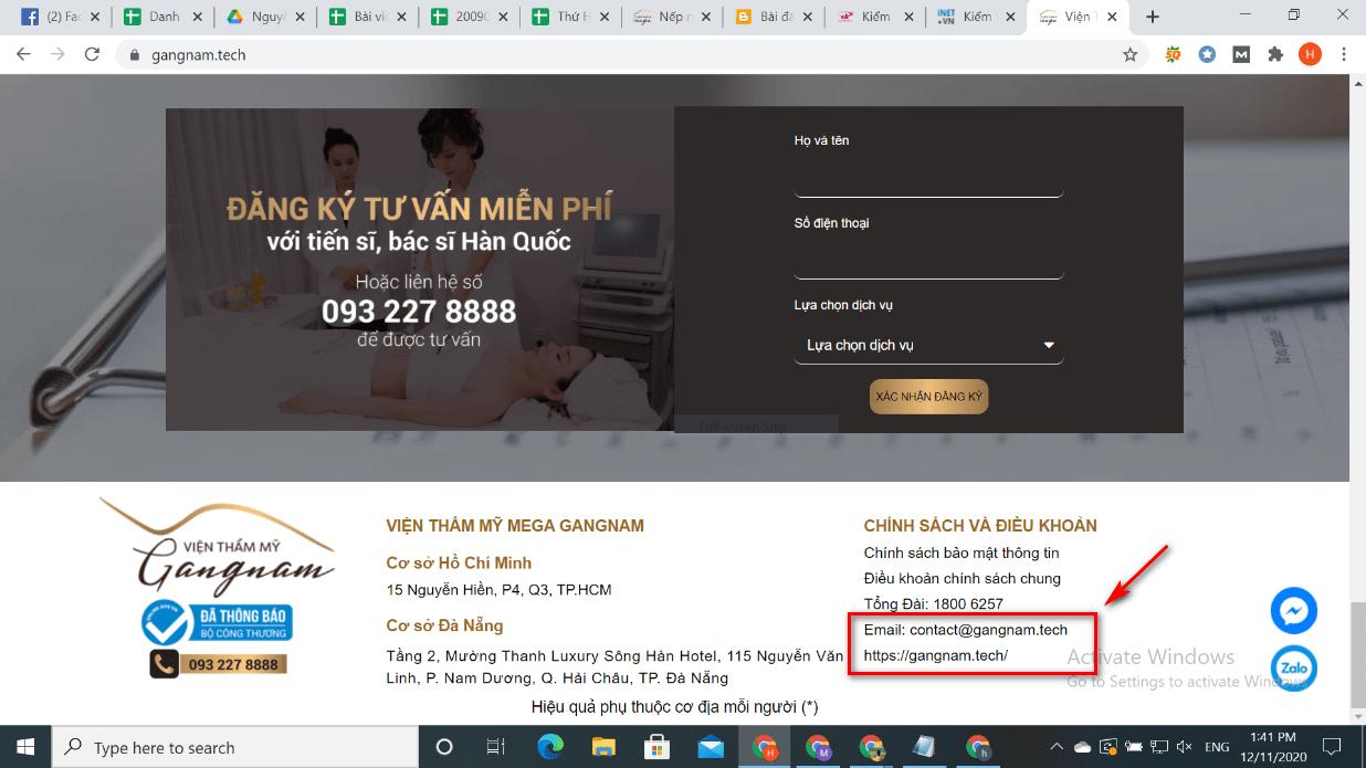 Giao diện website của trang gangnam.tech sao chép mọi hình ảnh thông tin của Mega Gangnam sau đó thay đổi email, website